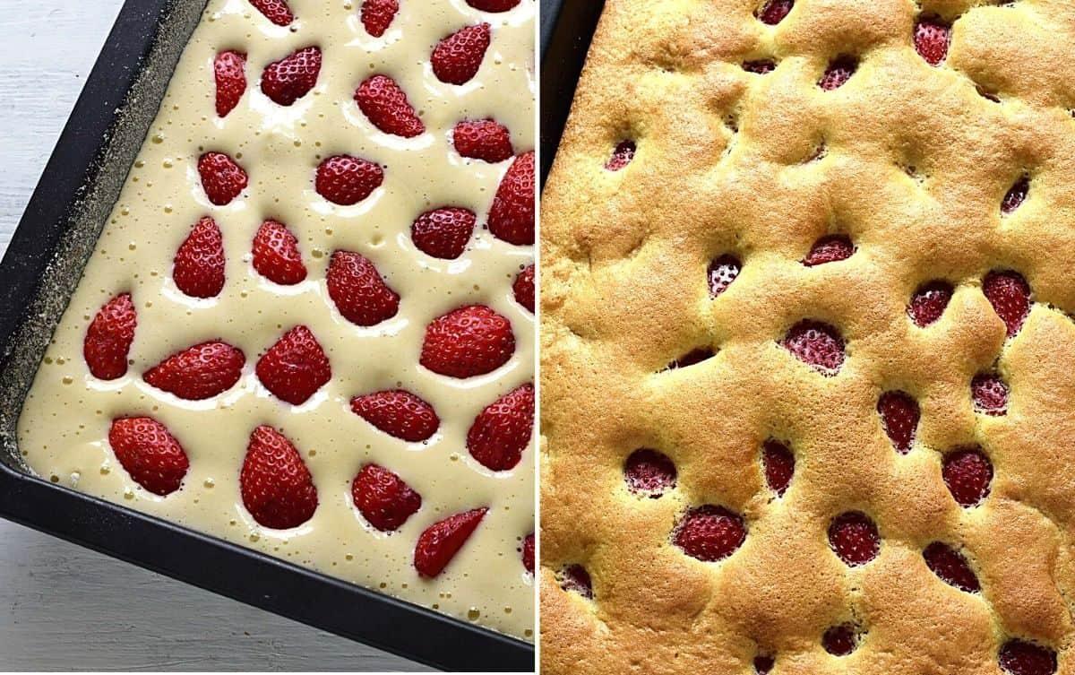 Erdbeeren-Biskuitkuchen zubereiten