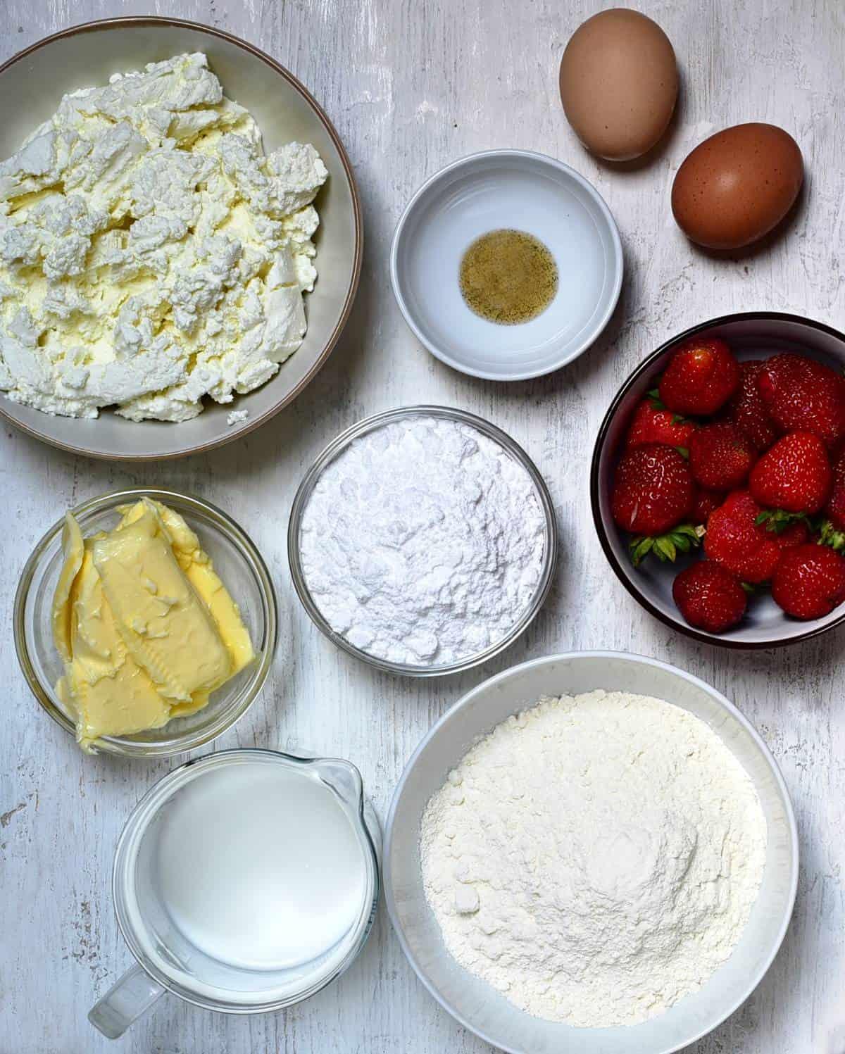 Käsekuchen mit Erdbeeren Zutaten