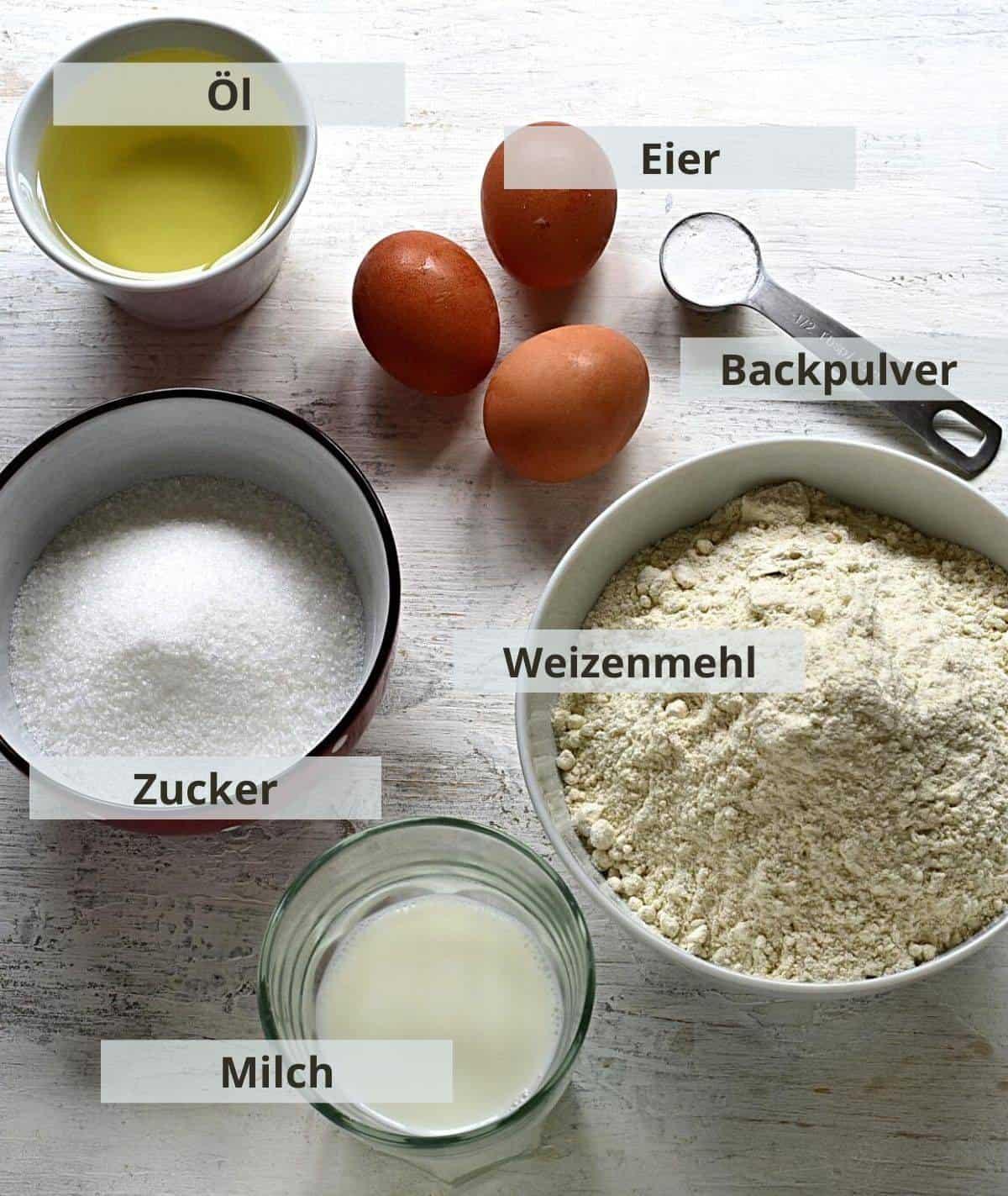 Rührteig für Pflaumenkuchen Zutaten.